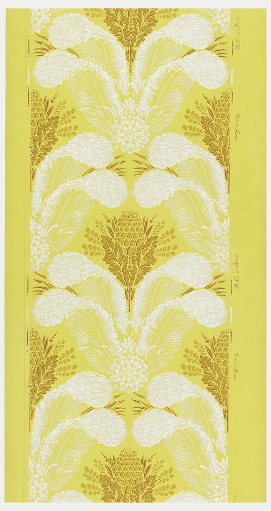 Repeating vertically, four feather plumes held together by a rosette with anthemion. On top of this sits a pineapple or pine cone, wrapped in oak leaves. Printed in yellow ocher and white on a yellow ground.