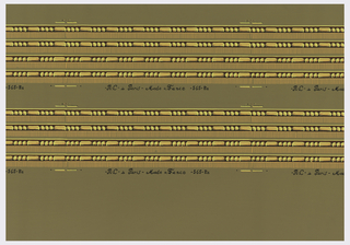 Narrow border of strung beads and dentilling, alternating three round beads and one oblong. These are printed in two bands, each printed four borders across. Printed in yellow, yellow ocher and brown on a gray-beige ground.
