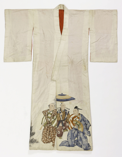 Long white satin kimono with painted decoration at bottom front or a group of men. Plain short sleeves. Lined with bright red silk.