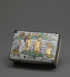 A snuffbox made in copper and silver. The lid shows two male figures in an outdoor scene with buildings in the background.