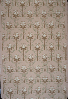 Repeating pattern of stylized floral motif. Small white flower on four leaves, attached to short stem.