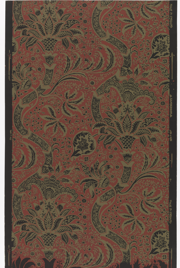 Design inspired from old crewel work and prints from India: tree of life design with pomegranates and large floral motifs.