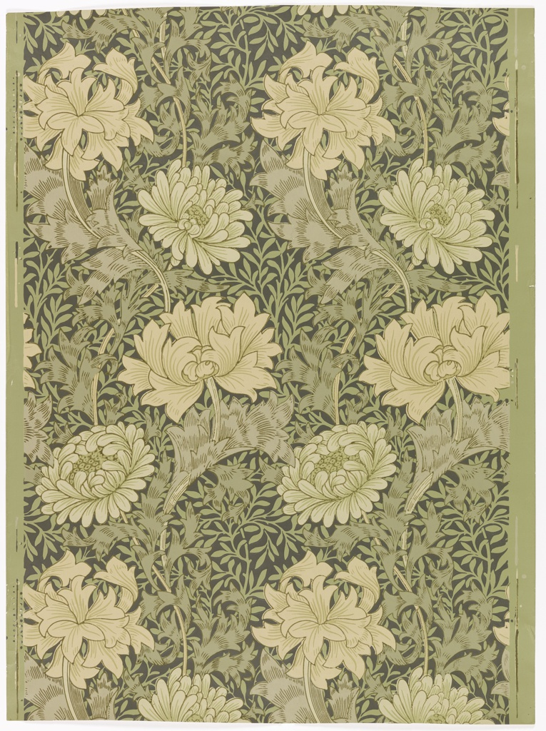 All-over floral and foliate pattern. Dense composition of chrysanthemums and foliage.