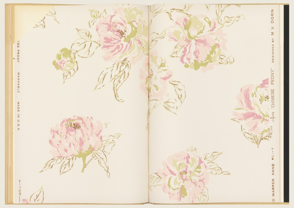 Book includes 31 patterns with multiple colorways of most patterns. Includes Central Park and Chicken Wire by Ilonka Karasz, Etruscan, Lanterns, Chinese Peony, Fancy Fruits and Vegetables by Marion Dorn, Baiae and Cathedral by Paul Johnson, White Birches by Lanette, and Midnight Supper by Peter Mitchell. Also includes a black and white photo insert of Stairs by Ilonka karasz. Also included is House & Garden Cook Book Wallpaper printed in the blueprint process.