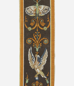 Two different border patterns, designed to be used together, running vertically and also horizontally containing birds and butterflies.
