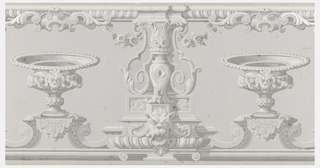 Neoclassical design with urns and masks in shades of gray.