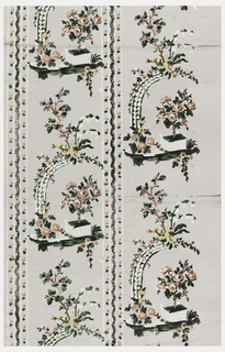 Landscape design with rose bush in square planter underneath arbor covered with flowers. This same motif repeats in two columns, divided by a floral stripe. Printed in red, yellow, green and white on a gray ground.