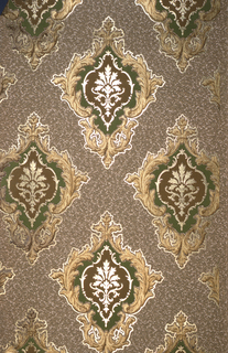 Staggered medallions on textured purple ground. Medallions composed of scroll gold frames containing concentric shapes in green, cream, and burgundy filled with an acanthus leaf motif.