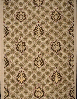Floral medallion, widely spaced. Printed on diamond grid background having quilted or tufted effect. Printed in brown and metallic gold on tan ground.