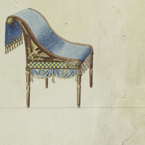 Horizontal rectangle. At left is a wash stand with three legs. In the center is a vanity table, shown obliquely, with four lion feet in green bronze. Ornaments are of the same material, so are the brackets and parts of the cresting. At right is a chair, shown obliquely, in profile. Base line. The framing line is partly cut away.
