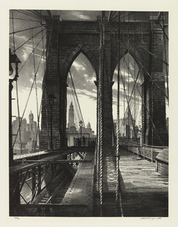 Vertical rectangle.  Pedestrian pathways and rail tracks run through the lower-left and lower-right of the composition, while the Gothic arches of the Brooklyn Bridge (1869-1883) loom up in the foreground.  The skyscrapers of Lower Manhattan can be seen in the background.  From left to right: Singer Building (built in 1908, demolished in 1968), Woolworth Building (1913), World Building (built in 1890, demolished in 1955), Municipal Building (1914), and the Thurgood Marshall U.S. Courthouse (1933).