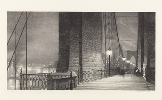 View of the Brooklyn Bridge (1869-1883) at night. The view appears along a pedestrian pathway of the bridge, facing a wall of one of the towers. Lampposts line the bridge, and one of the Gothic arches from another bridge tower is visible in the distance. The hazy outline of a figure can be seen towards the end of the pathway. The city skyline is visible in the background, featuring lights and indistinct outlines of the buildings of Lower Manhattan.