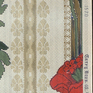 Floral stripe design. Large-scale red poppies on green foliate stripe. This alternates with a narrower, less prominent stripe. The whole design is printed to resemble a textile.