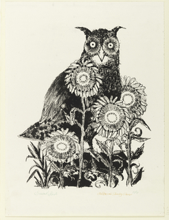 Vertical rectangle. An owl, facing frontally, stands among a clump of four sunflowers.