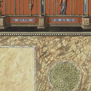 Design for a wall decoration.  View of red colored wall with grotesques above a rendering of a marble wall with inlaid squares and circles. Grotesque motif consists of open framework compartments surmounted with figures at left and right and draped material at center.