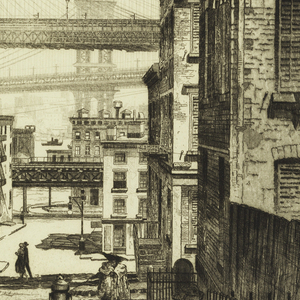 View looking down a narrow hilly Brooklyn street toward the East River - the Brooklyn and Manhattan bridges are seen overhead, and the Manhattan skyline in the distance - [number 20 of an edition of 75].