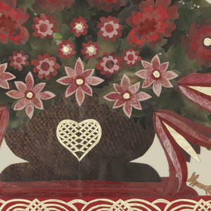 Center, large bouquet of red and pink flowers in brown woven basket with heart decoration at center. Flanked by two hearts, two trees, floral motifs, figures and birds; lower left, male figure with small dark brown fox; lower right, female figure with small tan fox. Bordered by red stripes with superimposed silver design.
