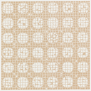 Squared arrangement of circles on small-scale grid in tan dots.