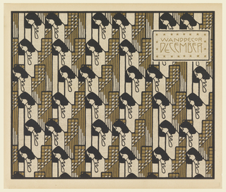 Text in gold in horizontal box, upper right: WANDDECOR / DECEMBER.  Vertical rows of  women's heads in black in profile left with triangle motifs between in gold and black. Verso: Text of portfolio in gray in box, upper left.  Diamonds, pentagons, trapezoids, polygons in gray on cream.
