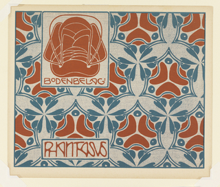 Organic-face-like motif in orange-red with partial text, upper left: BODENBELAG: / PHANTASUS. Horizontal text box, lower left. Abstract floral motifs in circles in orange-red and turquoise with bean-shape motif between. Verso:  Title of portfolio in gray in box, upper left.  Leaf/wave motif in diamond pattern in gray on cream.