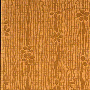 Stylized floral stripe design. Very simple flower motif on ribbon stripe. Printed on background having wood grain effect.