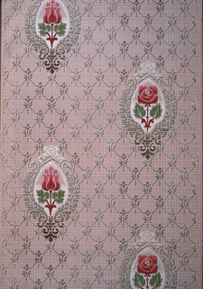 Floral medallion design. Alternating red roses and red tulips on diamond diaper  or trellis background pattern. The ground is a very fine plaid pattern.