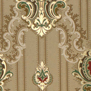 On gray-taupe ground, treillage composed of scrolls; medallions at interstices composed of scroll frames in green, light yellow, and burgundy, containing abstract pedestal with flowers.