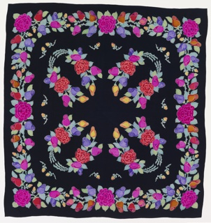 Large square of black silk with a border showing a large motif repeated four times of bright multicolored stylized rosebuds, peonies and leaves. Printing shows crackling or veining typical of wax resist. Colors filled in the resist areas are bright pink, magenta, vermillion, orange, yellow, purple, blue-green, and yellow-green with outlines, inner decoration reserved in white. Fold-over repeat and reversible.