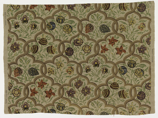 Panel of natural-colored linen printed in a multicolored design of interlacing enframements enclosing flowers. The design is taken from the painted rooms at Cornmarket Street, Oxford, which was decorated circa 1550. Colors are green, red, yellow, dark and light brown, and blue.