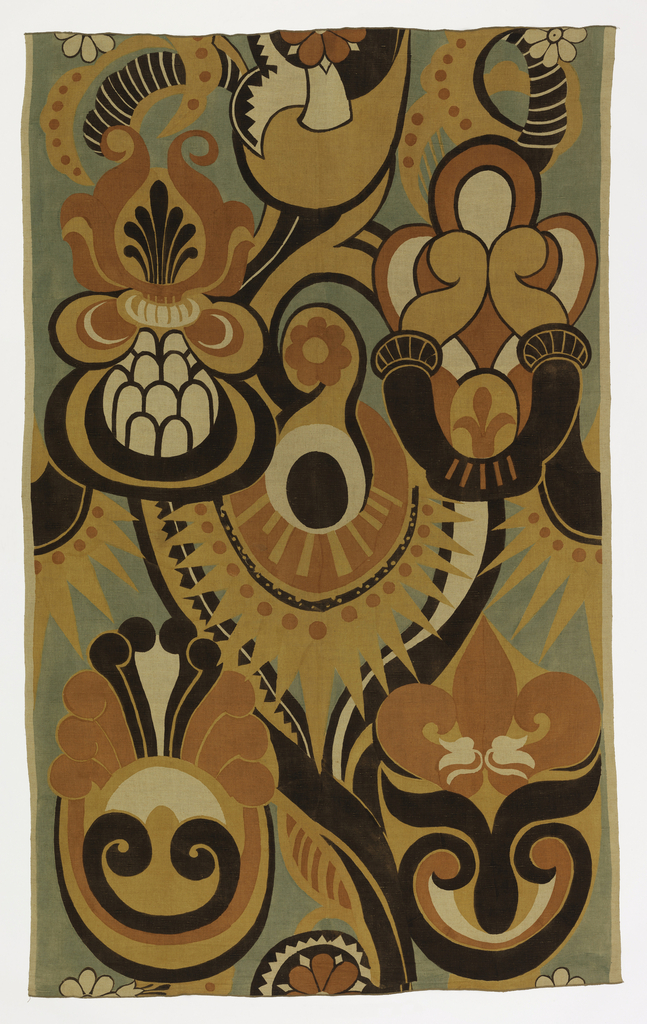 Large-scale symmetrical design of stylized plant forms in black, green, yellow and orange.