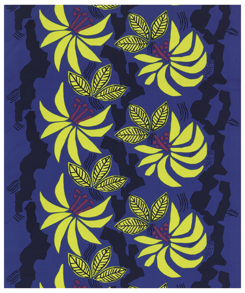 All-over pattern of large blossoms in yellow with red stamens and jagged black stems on a blue background.