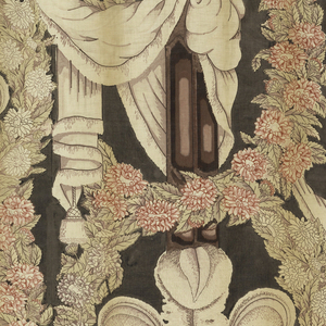 Half-drop repeat of a swagged pillar topped with three feather plumes. A garland of flowers wrapped around the top of the draped pillar forming a base for the plumes. The trailing ends of the garland frame the motif and by shading create a vertical curve. Predominantly rose and purple and ivory on a gray background.