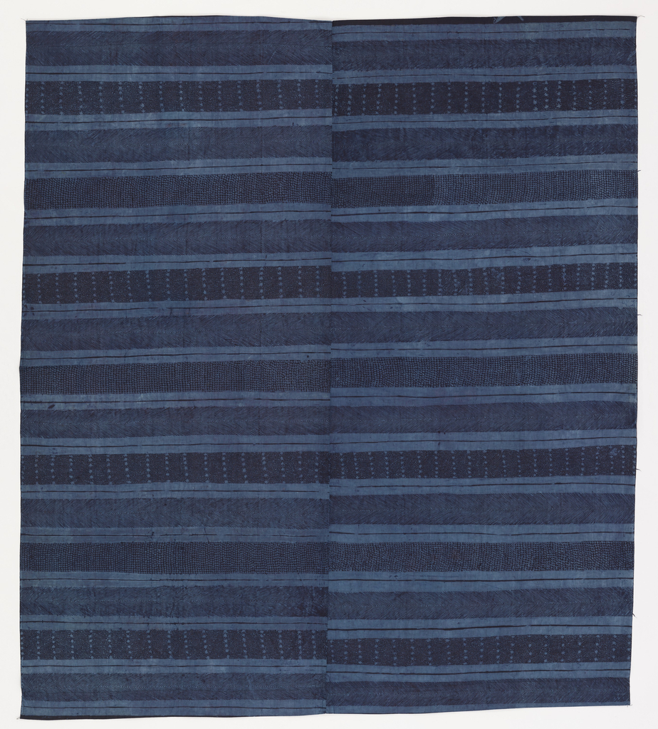 Narrow horizontal stripe in various shades of blue. The wider bands are patterned with small dots, stars or chevrons, and are separated by two plain bands. The piece is composed of two fabric widths stitched together at the center.