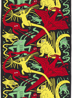 Monsters in bright colors, red, yellow and green jumping out of a black background