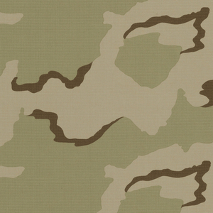 Printed camouflage cloth designed for the Persian Gulf war. Organic forms in light green and brown on a tan ground.