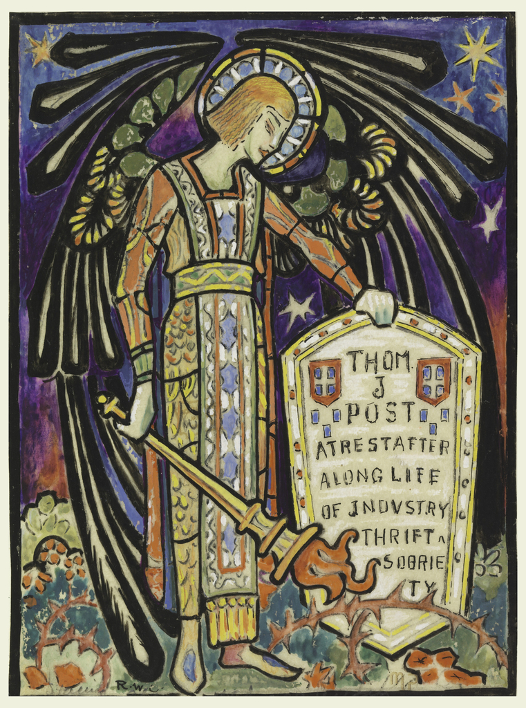 """Vertical rectangle depicting an angel that holds a torch in his right hand, and rests his left hand on a shield bearing the inscription: """"THOM. J. POST AT REST AFTER A LONG LIFE OF INDUSTRY THRIFT AND SOBRIETY""""."""