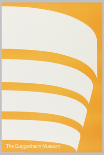 "Poster for ""Malcom Grear Designers Printed in the United States"" for the Guggenheim Museum. Schematic Rendering of the building in sweeping bands."