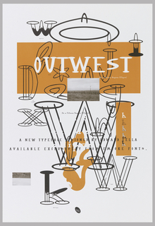 "Promotional poster for ""OutWest"" typeface from Emigre Graphics. The curvature of this font is based on fifteen degree ellipse and uses western motif such as cowboy hat.  These font are usually created with black line with appearance of three dimensionality.  ""W"" with fifteen degree ellipses on ends at upper left with half of letter filled with black which is labelled ""Half Full"" below.  Large partial fifteen degree ellipse in black line drawing with much smaller fifteen degree ellipse perpendicular at top center.   Letter ""I"" which is ""half full"" at upper right with with cowboy hat motif as top. Various letters such as ""D, J, X, W, g, k"" in ""Outwest"" font are scattered throughout poster. Orange text box (7 1/2 x 19) with name of font and color photo reproduction of desert landscape, typical of West.  It shows electric pole along dirt road with mountain range in background and arid land in foreground all in brownish tones. Same photo at bottom left but smaller in size and upside down.  Vertical orange text box at center right which shows five variations of this font using letter ""h"": plain white font without outline is ""bold"", black outlined font is ""light"", combination of bold and light, bottom part of font filled in with black is ""half full"", and top part of font filled in with black  is ""top full"". Below center, two part orange irregular shape made from curvature with partial visible ""emigre"" logo and large ""W"" in ""light"" font to right.  Superimposed on this shape,""W"", and white background is text thus only parts overlapping color background can be seen. Play on postive and negative. Emigre logo, black slanted ellipse with ""EMIGRE"" in white, at center along bottom edge."