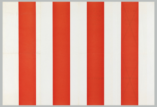 "Art exhibition poster with pattern of red (4) and white (5)  vertical stripes. On verso, in French and Flemish, gallery name, address, and variations of exhibition information printed four times; two of these are crossed out with ""X."" Verso:  Four rectangular text boxes with first two on left side crossed out with ""Xs"" and last two on right side with text.  Inbetween, blank space of equal width."