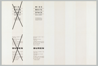 """Art exhibition poster with pattern of red (4) and white (5)  vertical stripes. On verso, in French and Flemish, gallery name, address, and variations of exhibition information printed four times; two of these are crossed out with """"X."""" Verso:  Four rectangular text boxes with first two on left side crossed out with """"Xs"""" and last two on right side with text.  Inbetween, blank space of equal width."""