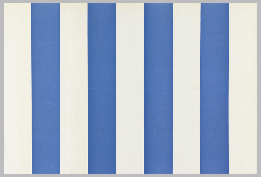 "Art exhibition poster with pattern of  blue (4) and white (5)  vertical stripes. On verso, in French and Flemish, gallery name, address, and variations of exhibition information printed four times; three of these are crossed out with ""X.""