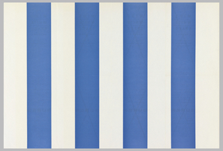 "Art exhibition poster with pattern of  blue (4) and white (5)  vertical stripes. On verso, in French and Flemish, gallery name, address, and variations of exhibition information printed four times; three of these are crossed out with ""X."" Verso:  Four rectangular text boxes with first two on left side crossed out with ""Xs"" and last two on right side with text.  Inbetween, blank space of equal width.Recto: Four blue vertical stripes and five white stripes of equal width alternating colors across poster. Verso: Eight rectangular boxes for text with four on top half and four on bottom half.  First six boxes have printed ""Xs"" through the text.  On far right in the remaining two boxes have information about the exhibition."