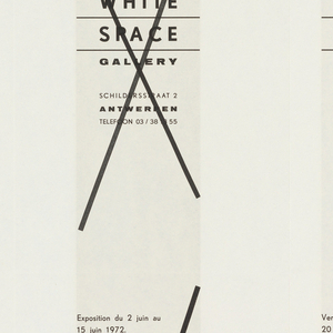"""Art exhibition poster with pattern of  blue (4) and white (5)  vertical stripes. On verso, in French and Flemish, gallery name, address, and variations of exhibition information printed four times; three of these are crossed out with """"X."""" Verso:  Four rectangular text boxes with first two on left side crossed out with """"Xs"""" and last two on right side with text.  Inbetween, blank space of equal width.Recto: Four blue vertical stripes and five white stripes of equal width alternating colors across poster. Verso: Eight rectangular boxes for text with four on top half and four on bottom half.  First six boxes have printed """"Xs"""" through the text.  On far right in the remaining two boxes have information about the exhibition."""