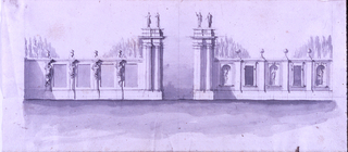 Entrance to a park. At left, between caryatids sunken compartments. At right, alternation of figures in niches and windows. Upon the wall, at left, vases, at right there are balls. Four figures upon the gateway.