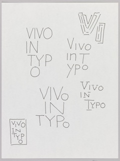 "Design with Vivo in Typo in six iterations, including a small design in a rectangle (lower left) and block letters ""V"" and ""I"" drawn in overlapping lines (upper right). Oriented vertically."