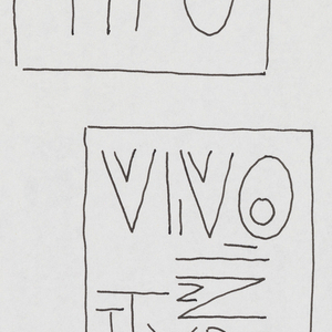 Vivo in Typo written in four rectangles of varying size, oriented vertically. The phrase also appears twice without a rectangular framework. Elsewhere on the page, series of dots and dashes are drawn, as if in code.