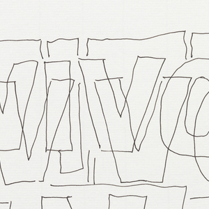 Vivo in Typo in a single iteration, oriented vertically. The words are staggered, and each word is outlined in a horizontal rectangle. Each letter is drawn twice, in overlapping block text.