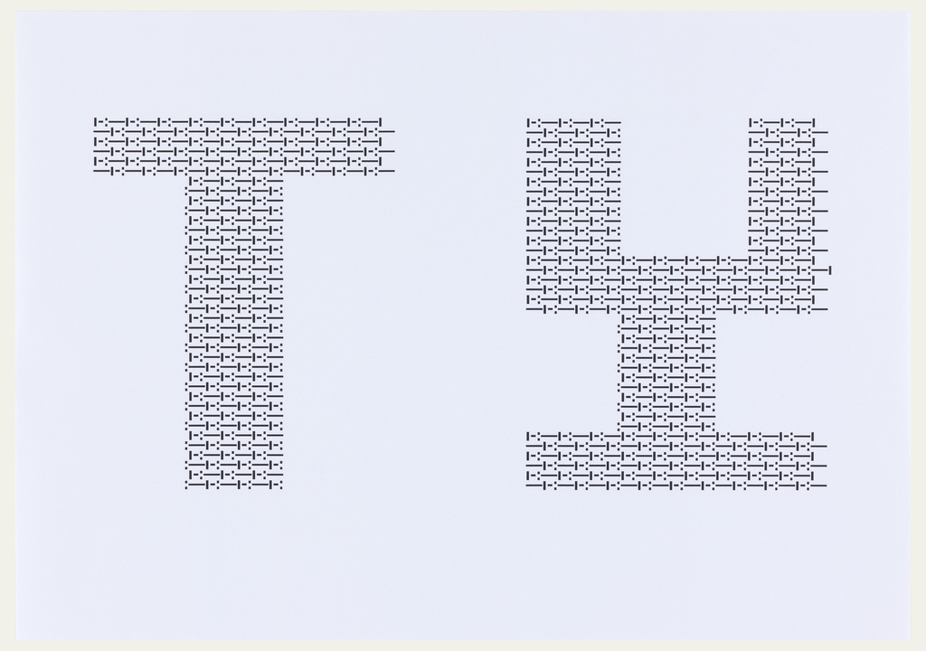 "Large letters ""T"" and ""Y"" in black ink, oriented horizontally. Both letters are comprised of a repeating sequence of dots and dashes."