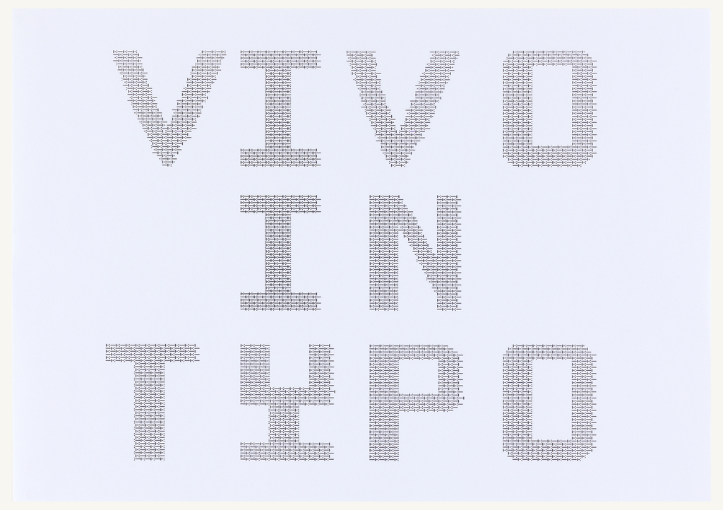 Vivo in Typo in a single iteration, oriented horizontally. Letters are printed in black ink, and comprised of a series of dots and dashes, in the same series used elsewhere in this group.