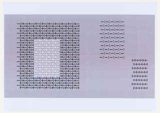 "Large letter ""O"" (left) and two rectangles (right) printed in black ink. The center of the ""O"" is printed in white ink. The ""O"" is comprised of the same series of dots and dashes seen elsewhere in this group. Rectangles are each comprised of different series: --:-- is upper right, -I-I- is lower right. Oriented horizontally."
